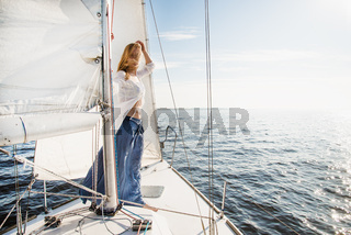 woman staying on sailboat