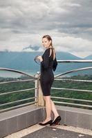 Beautiful woman wearing in black dress