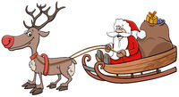 Santa Claus on sleigh with reindeer and Christmas presents