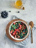 Multi-colored pancake cereal