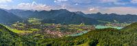 Panorama Landschaft von Rottach-Egern und Bad Wiessee am Tegernsee