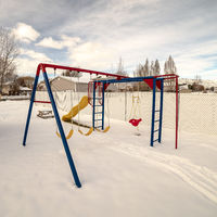 Square Kids playground in winter snow day light