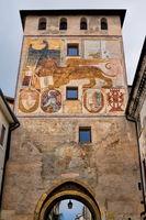 bassano del grappa, italy - 03/17/2019 - medieval porta dieda