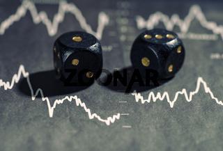 Fallende Börsenkurse und Würfel