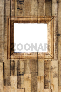 Outdoor wood photo booth with copy space