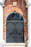 Old cathedral forged metal gate