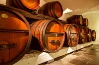 Pile of wine barrels in a wine cellar