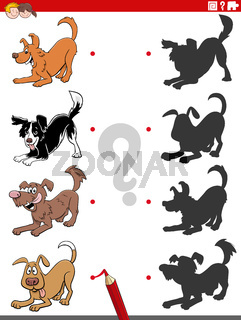shadow task with cartoon playful dog characters