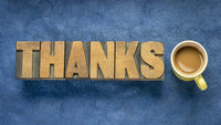 thanks word abstract in vintage wood type