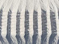Aerial view heaps of natural salt in Santa Pola. Spain