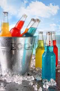 Cool drinks in ice bucket at the beach