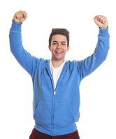 Happy hispanic guy in a blue jersey