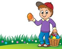 Boy with Easter eggs theme image 2