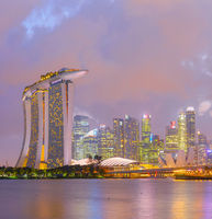 Singapore Marina Bayskyline twilight