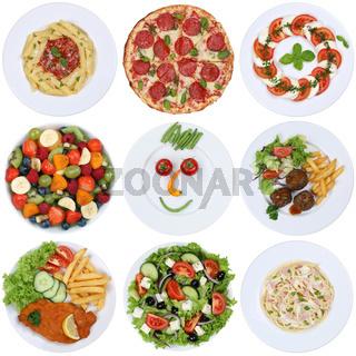 Gerichte Essen Sammlung mit Pizza, Salat, Spaghetti, Pasta und Fleisch