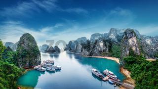 Tourist junks at Ha Long Bay, Vietnam