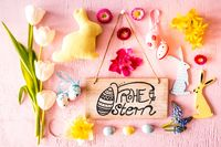 Easter Flat Lay, Sign, Calligraphy Frohe Ostern Means Happy Easter