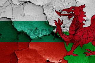 flags of Bulgaria and Wales painted on cracked wall