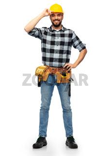happy male worker or builder in helmet