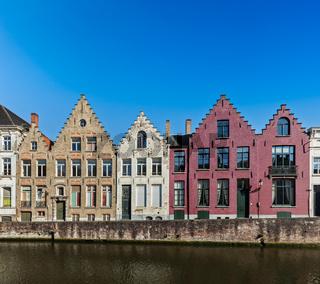 Canal and medieval houses. Bruges (Brugge)