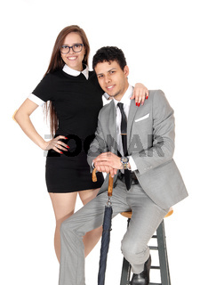 Young couple in the studio for a portrait shoot