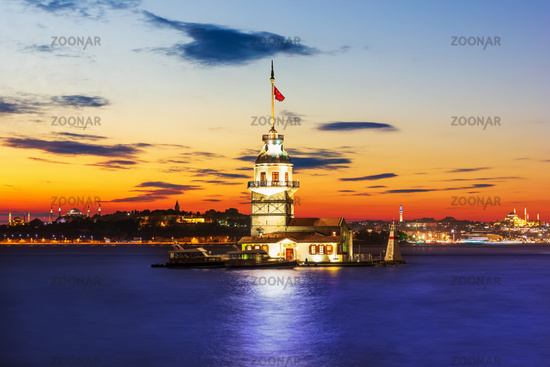Leander's Tower in the Bosphorus Straight, beautiful sunset colors, Istanbul, Turkey