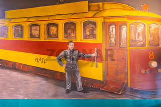 Argentina Cordoba mural representing the driver of a train