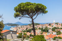 Panoramic view of traditional old seaside town of Mali Losinjn, Croatia, Mediterranean, Europe