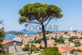 Panoramic view of traditional old seaside town of Mali Losinjn, Croatia, Mediterranean, Europe