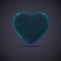 3D digital futuristic blue heart on gray background.