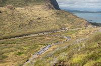 Steep paved trail up to the lighthouse on Makapuu point on Oahu, Hawaii