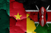 flags of Cameroon and Kenya painted on cracked wall