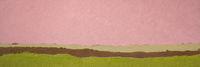 pink and green abstract landscape created with handmade paper