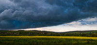 Dramatic thunderstorm cloud over spring yellow rapeseed fields