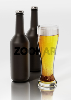 Two beer bottles and a glass of beer isolated on white background. 3D illustration