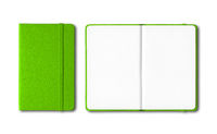 Green closed and open notebooks isolated on white