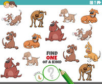 one of a kind game for children with funny dogs