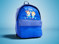 Modern blue backpack in school for teenager with picture of guys from school view from the right 3D render on blue background with shadow