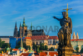 View of Hradcany district in Prague with St. Vitus Cathedral and Prague Castle. Czech Republic