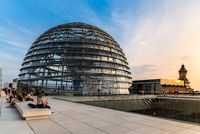 View at sunset of the dome of Reichstag building in Berlin