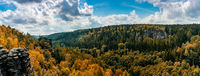 A panorama landscape in he Elbsandstone mountains in autumn