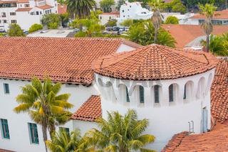 Santa Barbara, California. Aerial view of County Courthouse Gardens