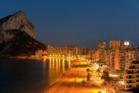 Cityscape at night panoramic view of Calpe. Spain