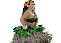 Polynesische Tänzerin im traditionellen Kleid