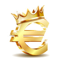 Gold sign euro currency with golden crown. Vector illustration isolated on white
