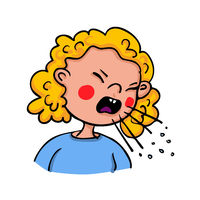 Girl showing symptoms of coughing which can be the flu or Covid-19 - hand-drawn vector illustration