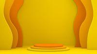 Abstract shape yellow orange mock up winner podium 3D