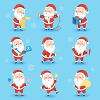 Set of festive Christmas icons with funny Santa Claus