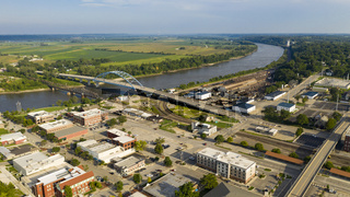 Aerial view looking at Utah Street highway 59 and the Missouri River in Atchison Kansas