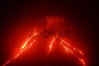 Night view of eruption Klyuchevskoy Volcano on Kamchatka Peninsula